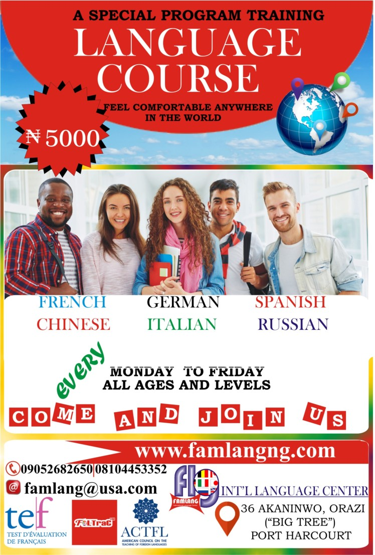 Free language flyer.